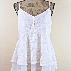 Laundry by Shelli Segal White Lace Sleeveless Top